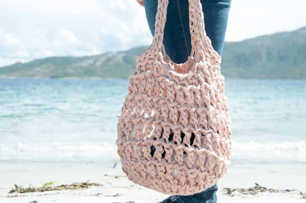 strikket strandtaske